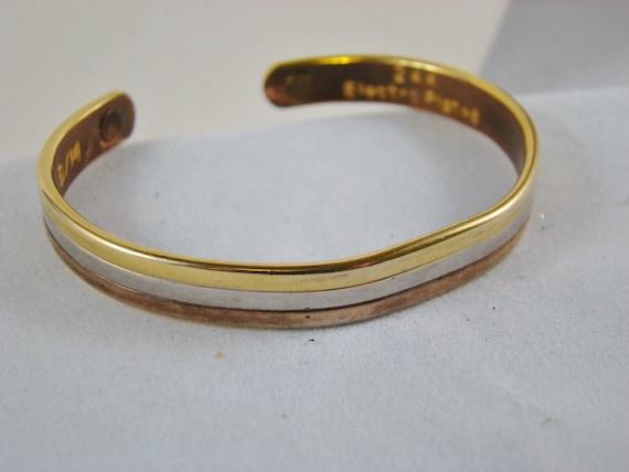 Vintage Misco Tricolor 24 Karat Electroplated Bracelet Size