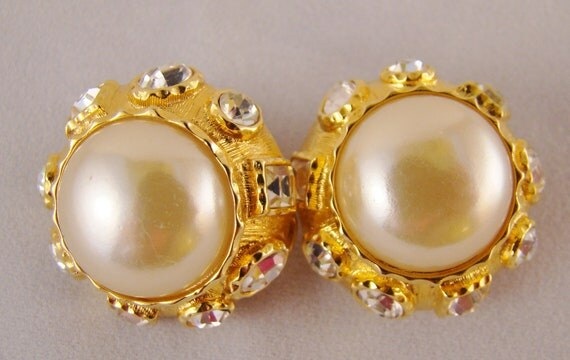 RESERVED for Sherri  KJL Large Pearl Cabachon With Rhinestone Crystals, Elegant Clip On Earrings, Perfect for Bridal or any Special Occaion