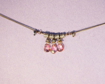 Three Dazzling Pink Quartz Necklace