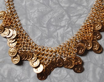 European chain maille necklace with coins (#1)