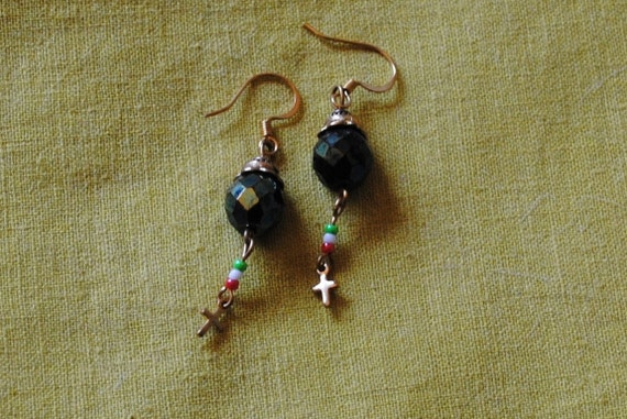 Green little cross earrings