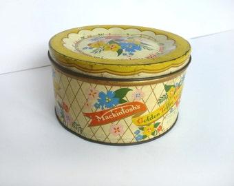 Vintage sweet tin - vintage English tin - Mackintosh toffee tin - decorative tin