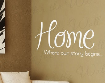 Home Where Our Story Begins Family Love Living Room Vinyl Large Wall Decal Lettering Art Mural Decor Quote Sticker Saying Decoration H08