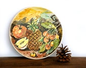 Italian Vintage Ceramic Plate Painted Fruit
