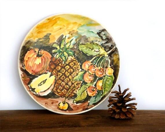Italian Vintage Ceramic Plate Painted Fruit