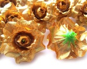 24 Gold mini Roses Heads - Artificial Silk Flower - 1.75 inches - Wholesale Lot - for Wedding Work, Make Hair clips, headbands
