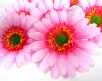 10X BIG Pink Gerbera Daisy Heads - Artificial Silk Flowers - 3.5 inches - Wholesale Lot - for Wedding work, Make Hair clips
