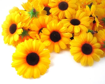 100 Yellow Gerbera Daisy Sun Flower Heads - Artificial Silk Flower - 1.75 inches - Wholesale Lot - for Wedding work, Make Hair clips