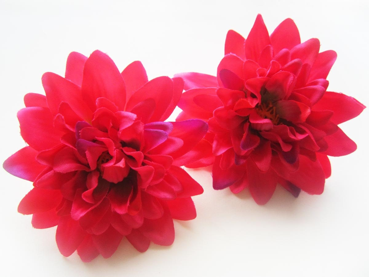 4 Hot Pink silk Dahlia heads Artificial Flower 4 inches Wholesale Lot