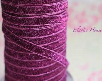 """3/8"""" Glitter Elastic  - Purple Color - Purple Glitter Elastic - Purple Velvet Glitter Elastic - Purple Elastic -Hair Accessorires Supplies"""