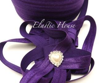 5 or 10 Yards 5/8 Fold Over Elastic - Royal Purple / Dark Purple Color - Headband- DIY Hair Accessories  Supplies