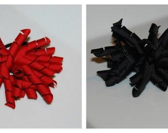 CHOOSE ONE- Red or Black 3 in Korker Bow Ponytail Holder / Everyday Korker Bow Pony o / Toddler Ponytail / Adult Ponytail