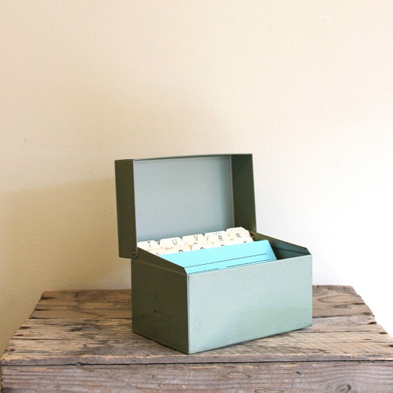 Vintage Recipe Box or Nurse's Box - Military Green Metal