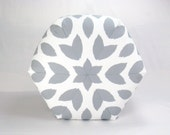 "25"" Floor Ottoman Pouf Pillow Storm Gray & White - Chipper Ikat Contemporary Modern Print"