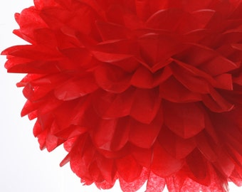 Red - 1 Large Tissue Paper Pom Poms