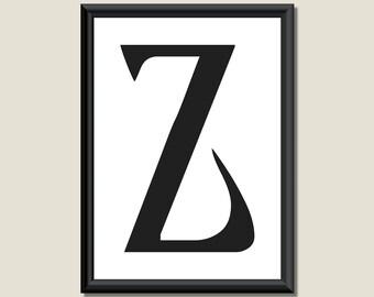 Typography Giclee Print Monogram Initial Wall Art Ariosto Letter Z