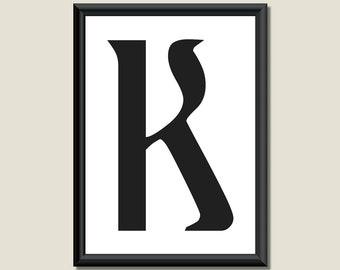 Typography Giclee Print Monogram Initial Wall Art Ariosto Letter K