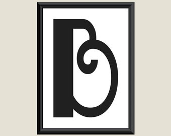 Typography DIGITAL PRINT Monogram Initial Wall Art Boogie Nights Letter B 5x7