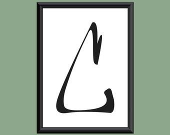 Typography DIGITAL PRINT Monogram Initial Wall Art Farewell Eternity Letter C 5x7