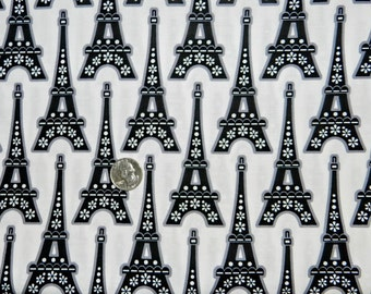 La Tour Eiffel on White by Hoodie - Fabric by the yard
