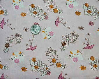 Hippie Hello Kitty - Fabric By The Yard