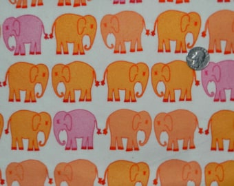 FLANNEL Bliss Elephants - Fabric By The Half Yard 18 inches x 44 inches