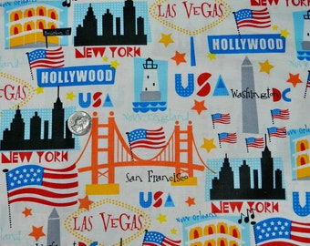 USA Landmarks - Fabric By The Yard