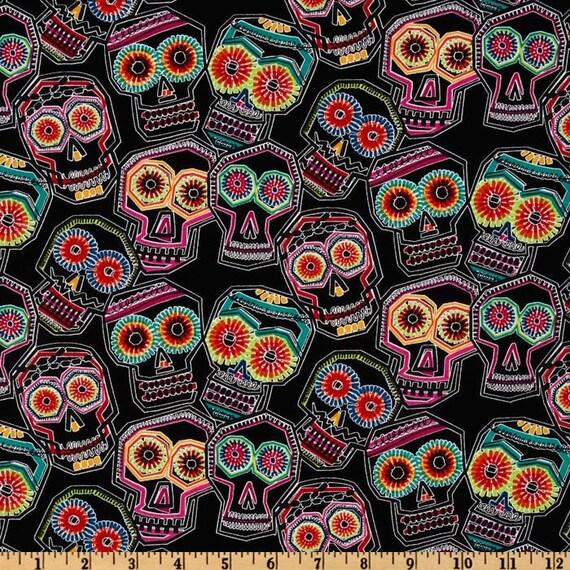 Chuchulucos Skull - Fabric By The Yard -