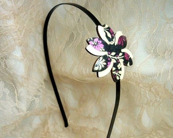 Hair accessories, Black pink headband, Fall hair accessory, Purple Flower headband, Fall headband, Women headband,Japanese style,black white