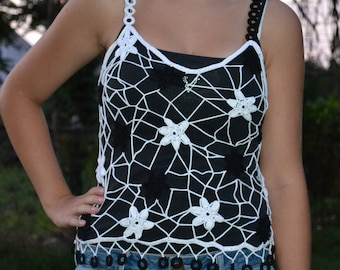 Black & White Stars Custom Made Cotton Size Hand Crocheted Tanktop - Sizes 0 to 20
