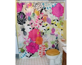 "Shower Curtain / Wall art - ""Tea Time"" 70""x74"" (eyelets are not standard size)"