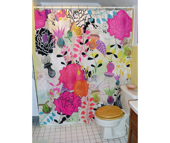 """Shower Curtain / Wall art - """"Tea Time"""" 70""""x74"""" (eyelets are not standard size)"""