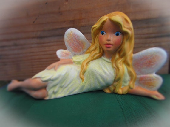 READY TO SHIP Ceramic Fairy Laying Down -9 inches long-hand made