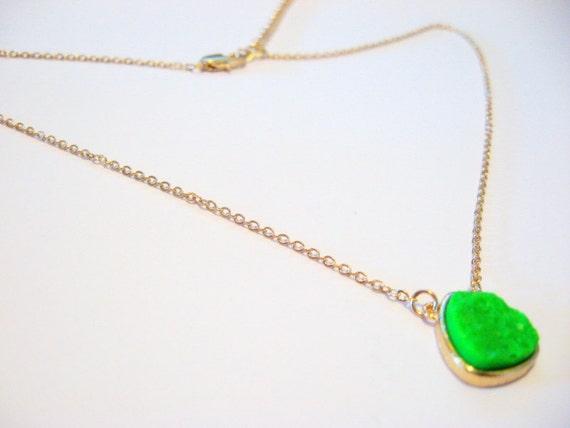 Neon Green Druzy Necklace