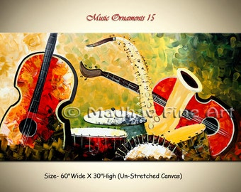 Abstract Guitar Painting Music Modern Contemporary Original Art on Large canvas by Madhav - Size: 60'' x 30'' (152cm x 76cm)