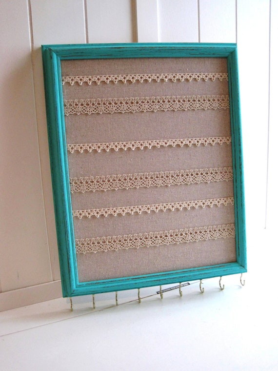 Jewelry Hanger / Organizer / Vintage Frame Distressed / Turquoise W/Lace / Hooks