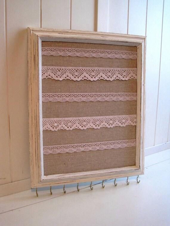 Jewelry Hanger / Organizer / Vintage Frame Distressed / Antique White W/Linen / Lace / Hooks