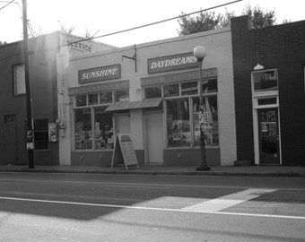 Black and white digital photograph of a shop in the NoDa district of Charlotte, NC