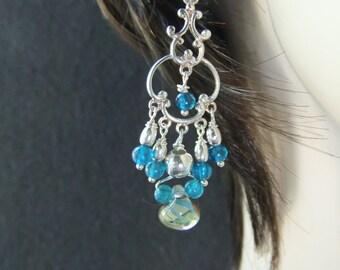 LUX GODDESS  DEVIC Teal Blue Apatite Sterling Silver Chandelier Earrings.