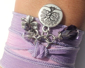 Tree of Life Silk Wrap Bracelet Yoga Jewelry Purple Good Luck Necklace Unique Gift For Her Christmas Stocking Stuffer Under 50 Item Z58