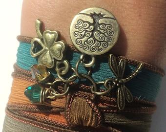 Bohemian Silk Wrap Bracelet Yoga Jewelry Dragonfly Tree of Life Good Luck Autumn Fall Orange Black Unique Gift Under 50 Item Z33