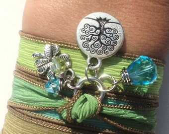 Tree of Life Silk Wrap Bracelet Yoga Jewelry Green Blue Brown Necklace Earthy Gift For Her Christmas Birthday Unique Gift Under 50 Item Z83