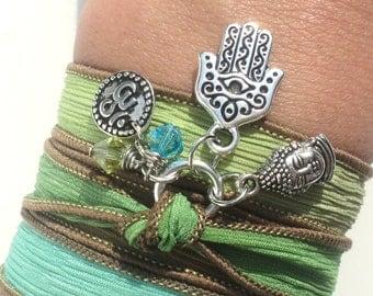 Hamsa Buddha Om Silk Wrap Bracelet Namaste Yoga Necklace Upper Arm Band Gift For Her Birthday Unique Gift Under 50 Item Z79