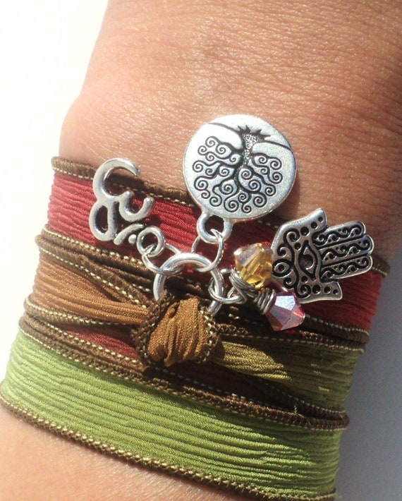 Tree of Life Silk Wrap Bracelet Namaste Yoga Jewelry Evil Eye Hamsa Bohemian Om Autumn Anklet Necklace Earthy Unique Gift Under 50 Item Z36