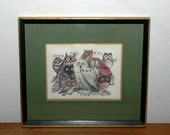 "Retro Framed ""Peace"" Owl Print"