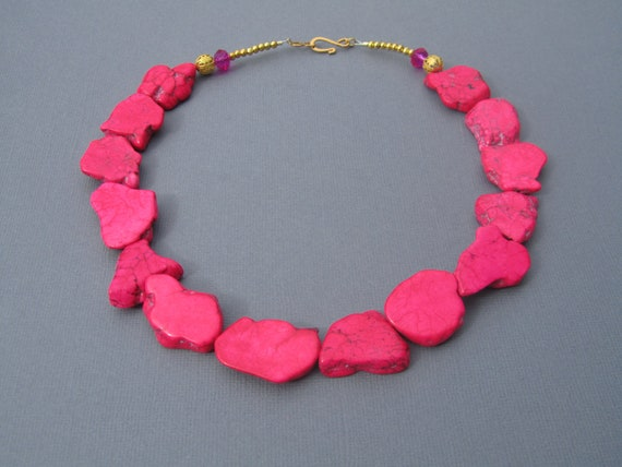 RESERVED FOR DARLENE  Turquoise Statement Necklace, Hot Pink Slabs, Chunky   180