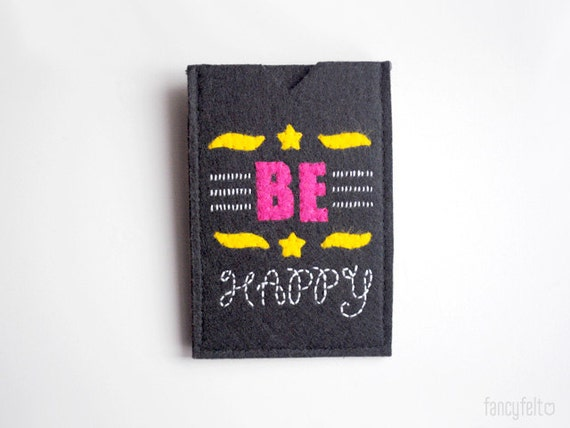 "SALE 20%OFF Black felt iPhone case ""Be happy"""