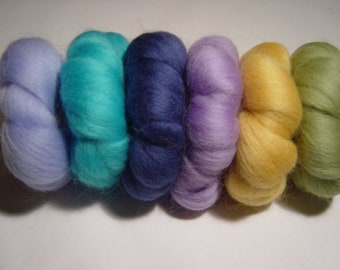 35 g. Felting wools, Pretty Mixed colours, x 6.