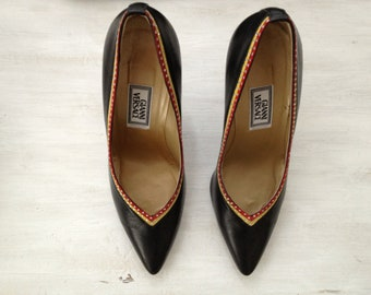 Gianni Versace 37 1/2 leather color block pumps/ Never Worn