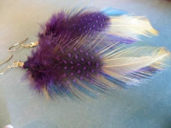 Purple Ploom Feather Earrings